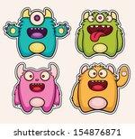 monster stickers   Shutterstock .eps vector #154876871