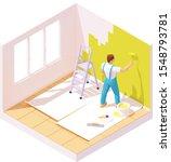 Vector Isometric House Painter...