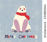 Christmas card with polar bear - stock vector