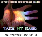 rainbow colored hand extended... | Shutterstock . vector #15488428