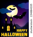 happy halloween party design.... | Shutterstock .eps vector #154884335