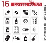 vector black pills icon set | Shutterstock .eps vector #154885889
