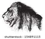 lion's face  vintage engraved... | Shutterstock .eps vector #154891115