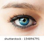 beautiful blue woman eye close...   Shutterstock . vector #154896791