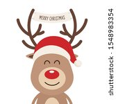 reindeer red nosed cute cartoon ... | Shutterstock .eps vector #1548983354