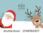 santa and reindeer cute cartoon ... | Shutterstock .eps vector #1548983357