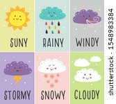 set of cards with cute baby... | Shutterstock .eps vector #1548983384