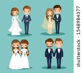 cute bride and groom couple... | Shutterstock .eps vector #1548984377