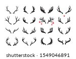 Antlers vector set . Hand drawn icons isolated on white