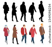silhouettes of men and women... | Shutterstock .eps vector #1549098254