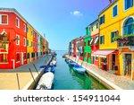 venice landmark  burano island... | Shutterstock . vector #154911044