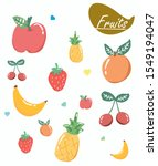 fruit icons seamless pattern in ... | Shutterstock .eps vector #1549194047