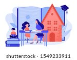 children at home with tutor or... | Shutterstock .eps vector #1549233911