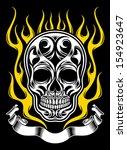 ornate flame skull  | Shutterstock .eps vector #154923647