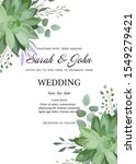 wedding invitation with leaves... | Shutterstock .eps vector #1549279421