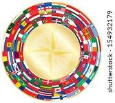flags around golden wind of rose   Shutterstock .eps vector #154932179