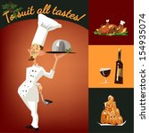 funny chef serving dishes ... | Shutterstock .eps vector #154935074