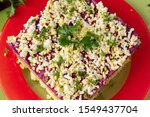 Stock photo traditional christmas salad herring under a fur coat in russia selective focus on a wooden 1549437704