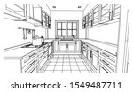 perspective kitchen sketch... | Shutterstock .eps vector #1549487711