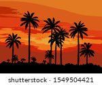 sunset on a tropical island.... | Shutterstock .eps vector #1549504421