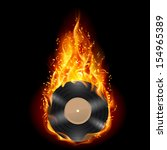 Burning Vinyl Record With Fier...