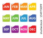 colorful month stickers. | Shutterstock . vector #154973099