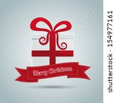 gift box red ribbon winter... | Shutterstock .eps vector #154977161