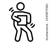 man carrying box icon in line...   Shutterstock .eps vector #1549875581