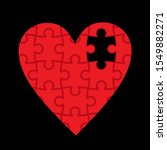 Red Heart Made Of Puzzles ...