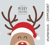 reindeer red nosed cute cartoon ... | Shutterstock .eps vector #1549928387