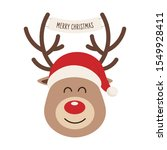 reindeer red nosed cute cartoon ... | Shutterstock .eps vector #1549928411