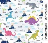 seamless pattern cute dino... | Shutterstock .eps vector #1549936301