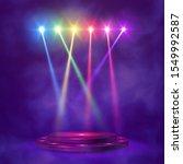 empty round pedestal or... | Shutterstock .eps vector #1549992587