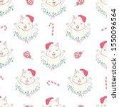 cat seamless pattern christmas... | Shutterstock .eps vector #1550096564