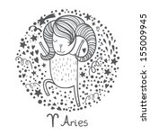 cute zodiac sign   aries....   Shutterstock .eps vector #155009945