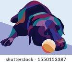 Sleeping Lazy Dog In Pop Art...