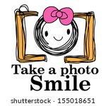 doodle sketch camera with happy ...   Shutterstock .eps vector #155018651