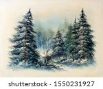 Evergreen Pine Trees Snow...