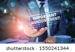 Small photo of Handwriting text Important Announcement. Concept meaning spoken statement that tells showing about something Picture photo system network scheme modern technology smart device.