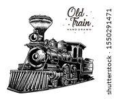 Old Train Hand Drawn  Vintage...