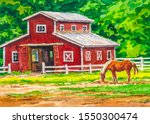 Farm With Red Barn And Horse....
