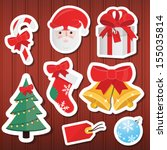 vector christmas paper icons... | Shutterstock .eps vector #155035814