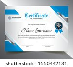 certificate template with blue  ... | Shutterstock .eps vector #1550442131