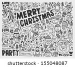 doodle christmas background | Shutterstock .eps vector #155048087