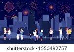 city fireworks. people... | Shutterstock .eps vector #1550482757