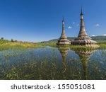 The Pagoda In Inle Lake  Myanmar
