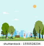 people in public park with city ...   Shutterstock .eps vector #1550528234