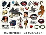 old school tattoo set. tiger... | Shutterstock .eps vector #1550571587