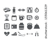 fitness and health icons set | Shutterstock .eps vector #155061329