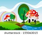 mushrooms cartoon | Shutterstock .eps vector #155063015